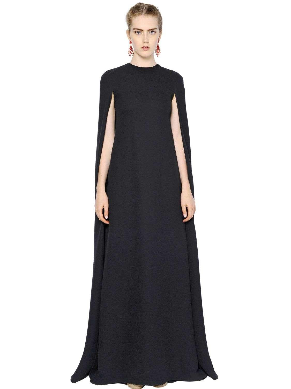 Valentino Silk Cady Cape Style Dress Black Lyst