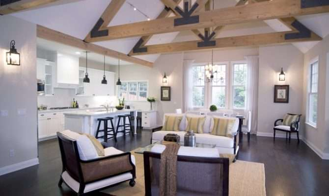 Vaulted Ceiling Exposed Shaped Trusses White