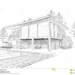 Vector Sketch Modern House Swimmingpool