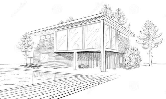 Vector Sketch Modern House Swimmingpool