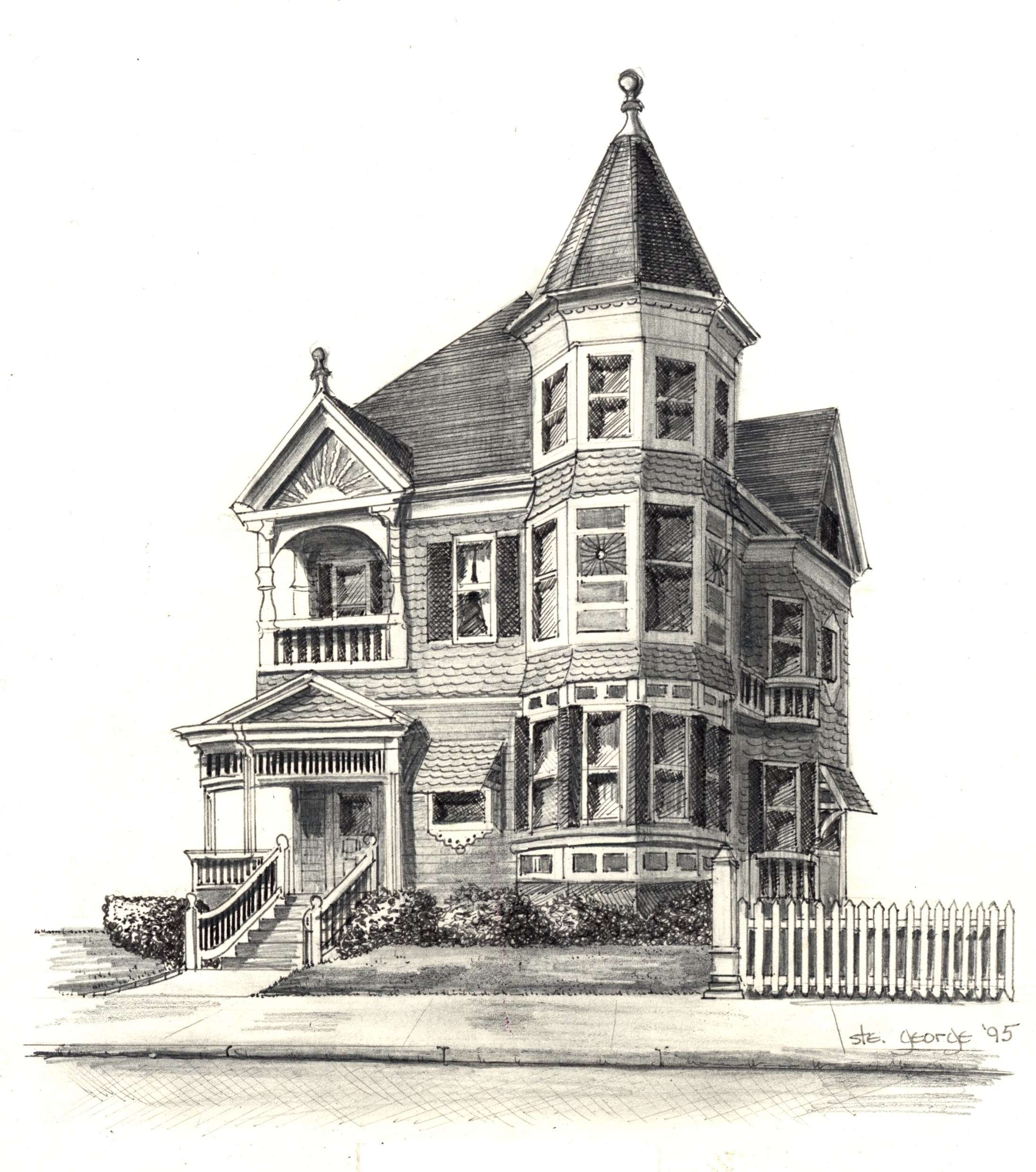 Victorian House Line Drawing Imgkid