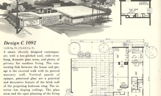 Vintage House Plans Spanish Style Mid Century Modern