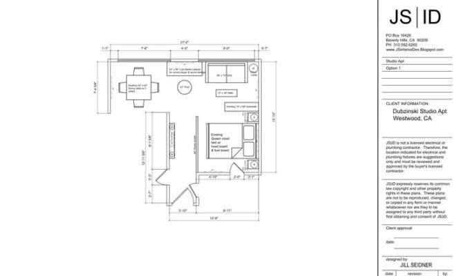 Westwood Studio Apartment Furniture Floor Plan Layout Option