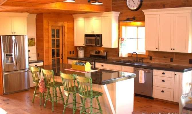 White Kitchen Log Home Creative Cain Cabin