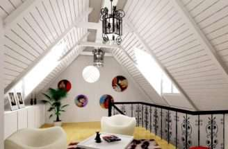 White Wooden Ceiling Design Rendering Attic