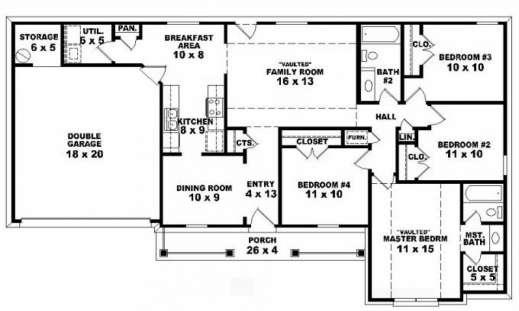 Wonderful Simple Open Floor House Plans Bedroom