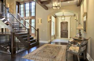 Wood Stairs Floor Give Home Foyer Rich Design