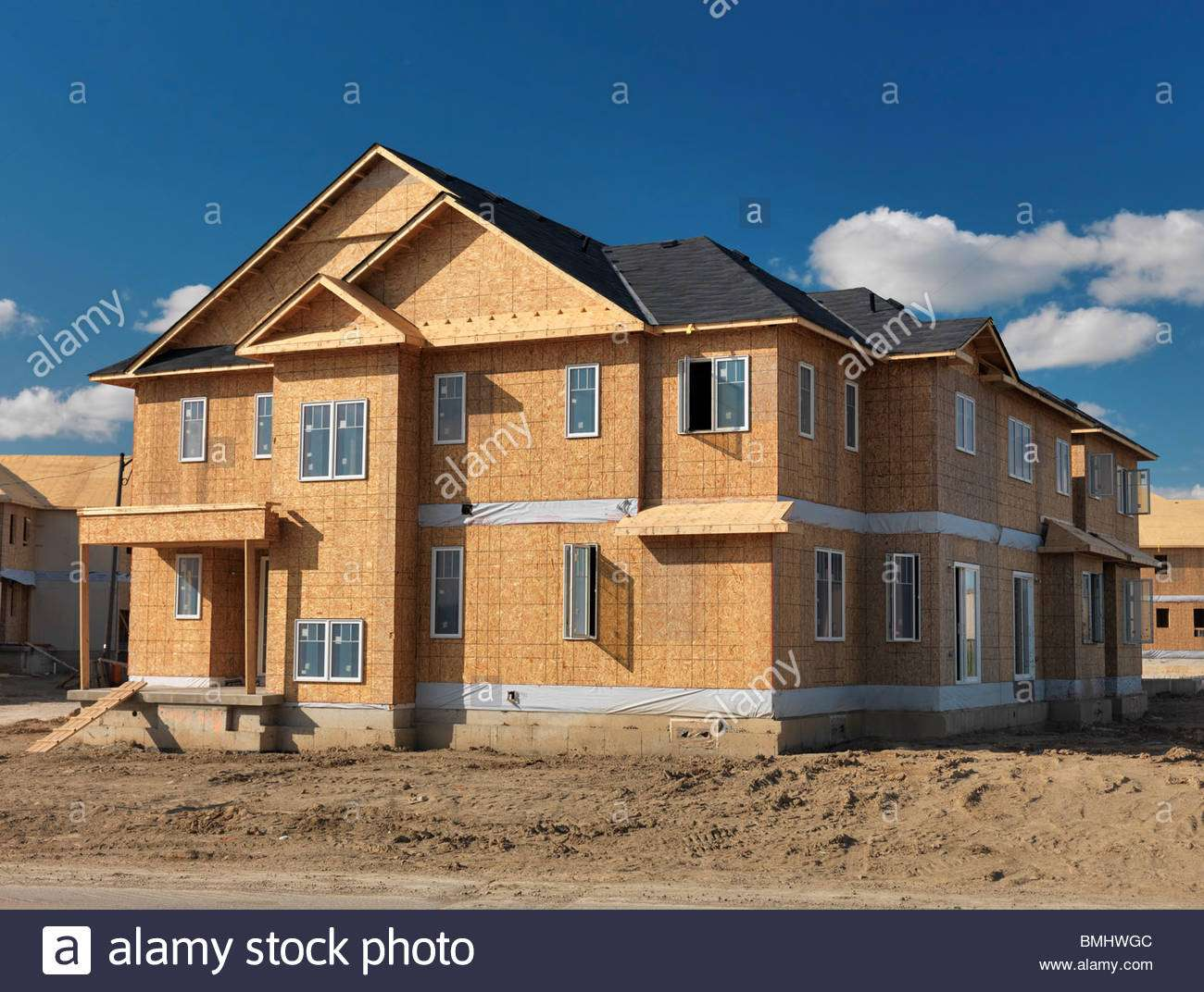 Wooden Frame Two Story House Osb Sheathed Walls Under