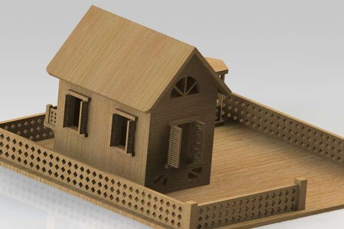 Wooden House Solidworks Cad Model Grabcad