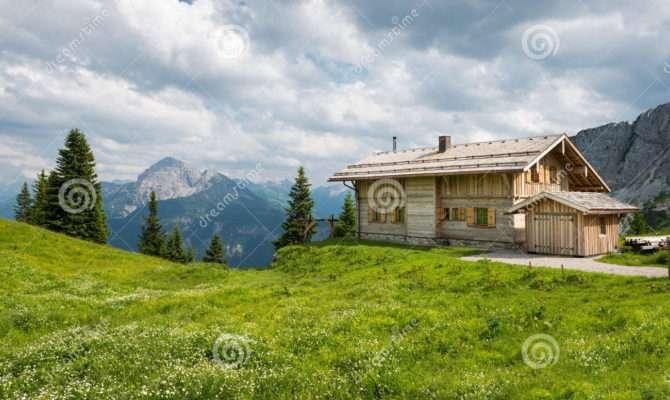 Wooden Timber Chalet House Austrian Mountains